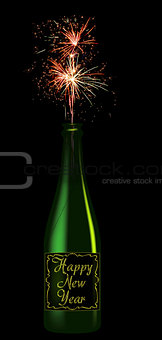 Champagne bottle with the inscription Happy New Year