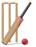 set equipment for cricket vector illustration