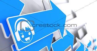 Boy with Headphones Icon on Blue Arrow.