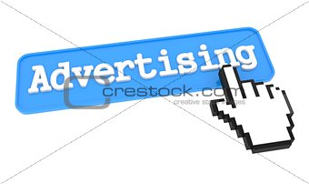 Advertising Button with Hand Cursor.