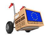 Made in EU - Cardboard Box on Hand Truck.