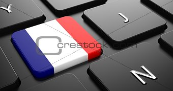 France - Flag on Button of Black Keyboard.