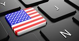 USA - Flag on Button of Black Keyboard.