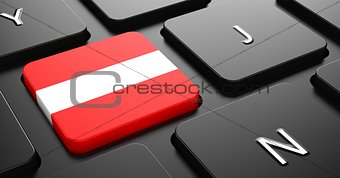 Austria - Flag on Button of Black Keyboard.