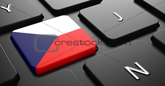 Czech Republic - Flag on Button of Black Keyboard.