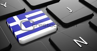 Greece - Flag on Button of Black Keyboard.