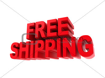Free Shipping - Red Text Isolated on White.