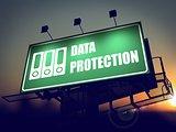Data Protection on Green Billboard at Sunrise.
