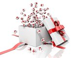Render of a white gift box with a red ribbon throwing little gift boxes