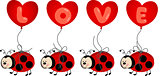 Ladybird Holding Love Heart Balloon