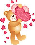 Teddy Bear Holding a Hearts