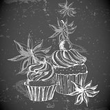 Vintage background with Cupcake and cinnamon