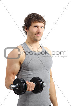 Attractive and athletic man doing weights