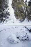 Horsetail falls Frozen in Winter Vertical