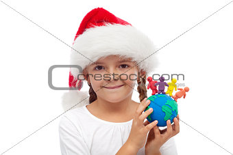 A world of happy christmas people concept