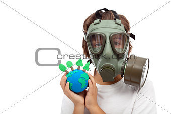 Forests importance - ecology concept with child wearing gas mask