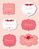 set of different gift cards with  ribbons,  design elements. Vec