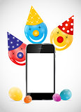 Color Glossy Balloons with Mobile Phone Vector Illustration