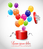 Color Glossy Balloons in Gift Box Background Vector Illustration