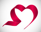Heart from Red Ribbon Vector Illustration