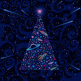 New Year And Christmas Tree. Cosmic Background