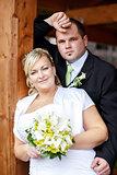 beautiful young couple on wedding day