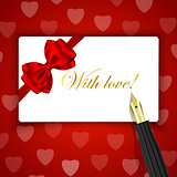 With love! words on luxury gift card and fountain pen on red hea