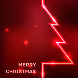 Glowing Merry Christmas typographic card