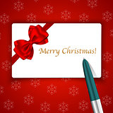 Merry Christmas card and pen on snowflake background