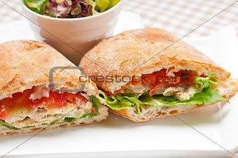 ciabatta panini sandwich with chicken and tomato