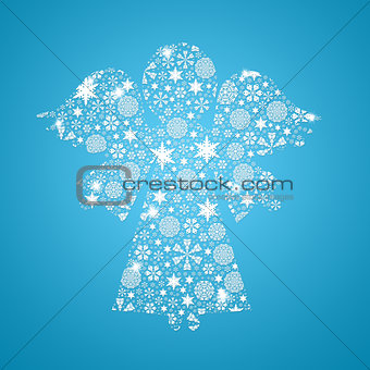 Angel silhouette filled with snowflakes