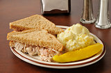 Chicken sandwich with potato salad