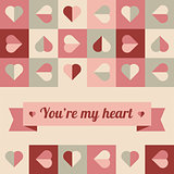 Greeting card with hearts in soft colors