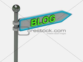 "3d rendering of sign with gold ""BLOG"""