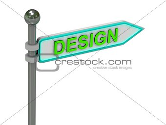 "3d rendering of sign with gold ""DESIGN"""