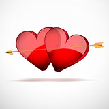 Background with beautiful glasses two hearts and golden arrow.