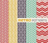 Set of seamless patterns in retro style.