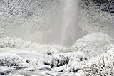 Base of Latourell Falls Frozen in Winter Closeup