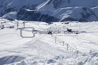 Top view on ski slope