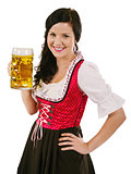 Smiling woman holding Oktoberfest beer