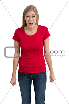 Angry woman posing with blank red shirt