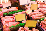 Meat and sausages in a butcher shop