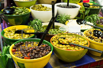 Olives in bowls in a shop