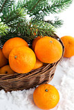 Fresh tangerine in a basket