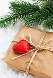 Gift box decorated with red heart