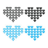 Diamond heart, luxury vector icons set