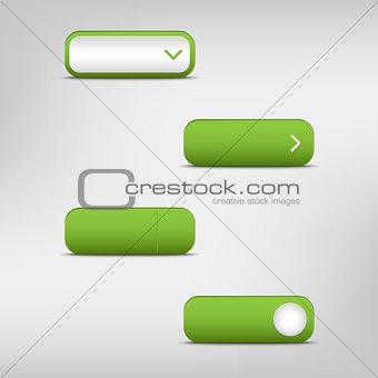 Green empty rectangular buttons