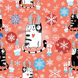Christmas texture with cats
