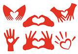 hand heart set, vector