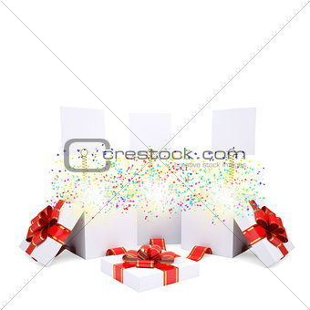 Asterisks fly from the open gift box